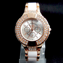Populaire De Luxe Rose Gold Tone Montre Femmes Dames De Mode Cristal Robe Quartz Montres Relogios Feminino TW036