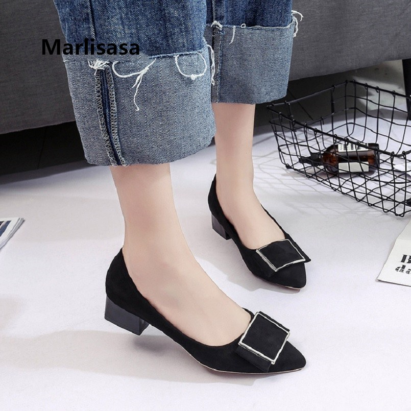 Marlisasa Tacones Altos Women Classic High Quality Flock Comfortable High Heel Shoes Lady Casual Red Shoes Brown Pumps F3215