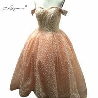 Leeymon Off shoulder Lace Evening Dress 2017 Elegant Ball Gown Luxury Pearls Peach Prom Dress Robe De Soiree Longue RE32
