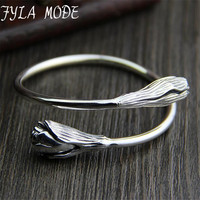 Double Flower Bangles 100 925 Sterling Silver Classic Flower Shape Genuine S925 Silver Bangle For Women