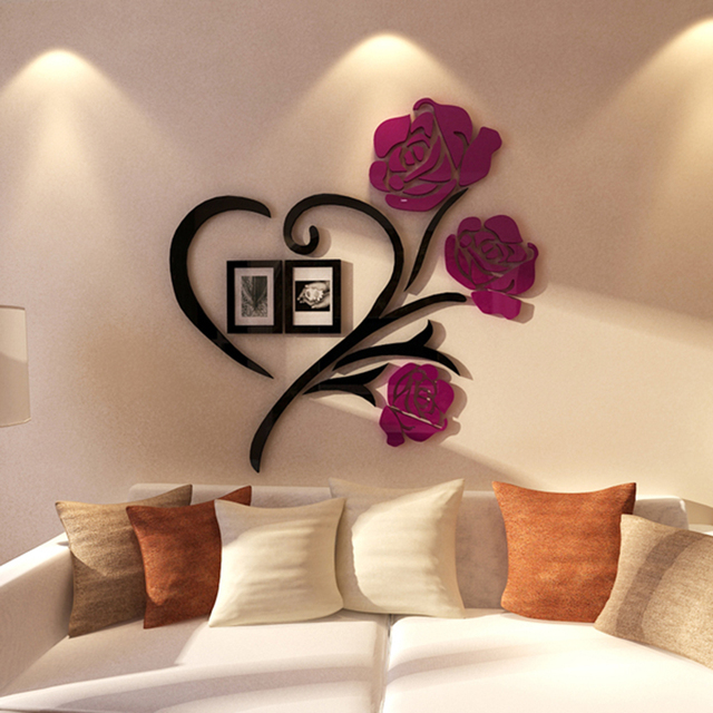 Love Rose Flowers Wall Stickers For Living Room Home Decoration Accessories Decor Frame Sticker Gifts