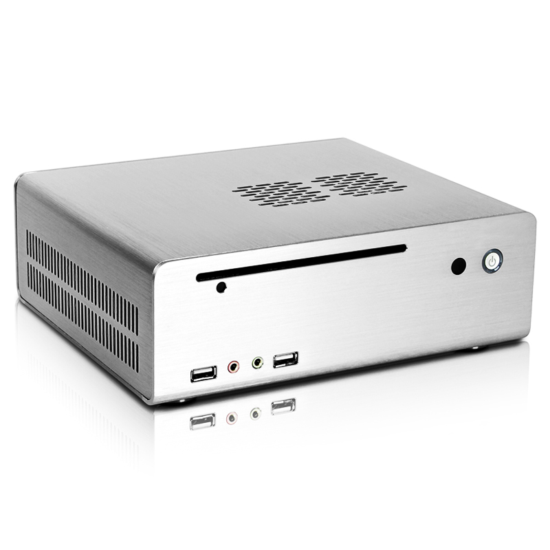 Silver CEMO 8001 Aluminum ITX mini Computer case HTPC horizontal With inhaled optical drive Bit Empty Box realan aluminum mini itx desktop pc case e i7 with power supply cd rom slots black silver