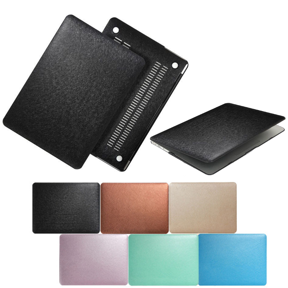 Newest Two-sided Skin PU Silk Lines Leather Case For Macbook Surface Laptop Bag For Mac Air 11 12 Pro Retina 13 15 inch shell