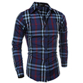 Camisa Masculina Slim Fashion Men Shirt 2016 New Brand Casual Long-Sleeved Chemise Homme Plaid Male Large  4 colors XXL DJWQ86
