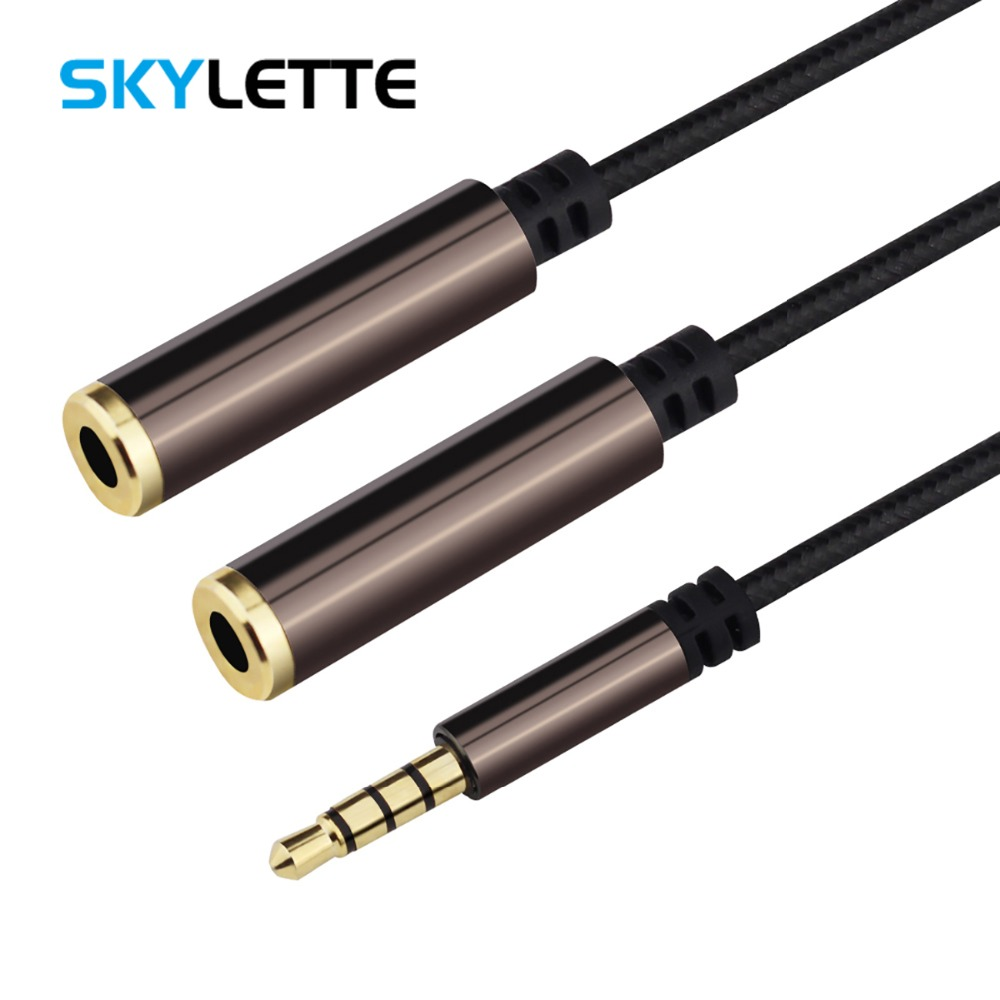 Headphone Splitter Audio Cable Male to 2 Female Jack 3.5mm Splitter Adapter Aux Cable for iPhone Samsung Computer MP3 Player