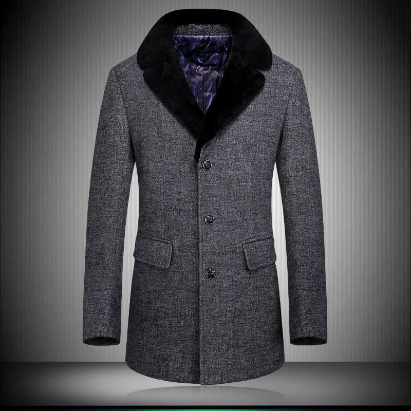 Winter Men Wool Jacket 2017 Fashion Long Thicken Warm Slim Wool Coat Men Turn-down Collar Woolen Overcoat Plus Size M-XXXL