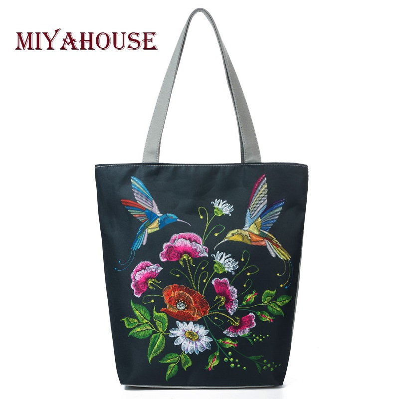 Colorful Floral And Bird Print Shoulder Bag Women Lmitation Embroidery Casual Tote Handbag Female Canvas Lady Handbag