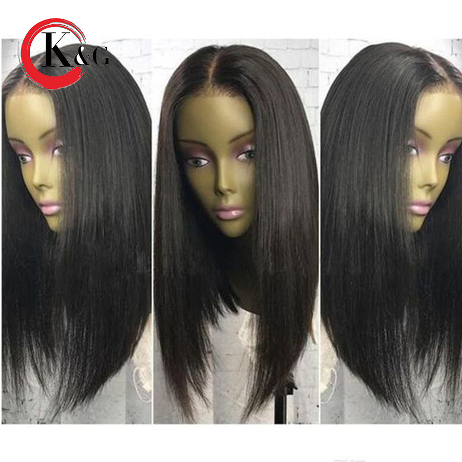 Kun Gang Silk Straight Lace Front Wigs With Baby Hair Pre Plucked Middle Part Brazilian Human
