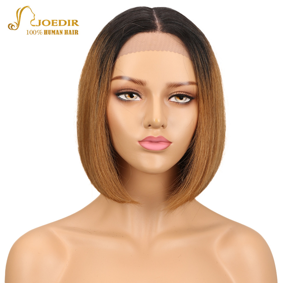 Joedir Brazilian Remy Hair Straight Short Human Hair Bob Wigs Ombre TT1B 30 Color Blunt Cut Bob Lace Front Wig With Closure