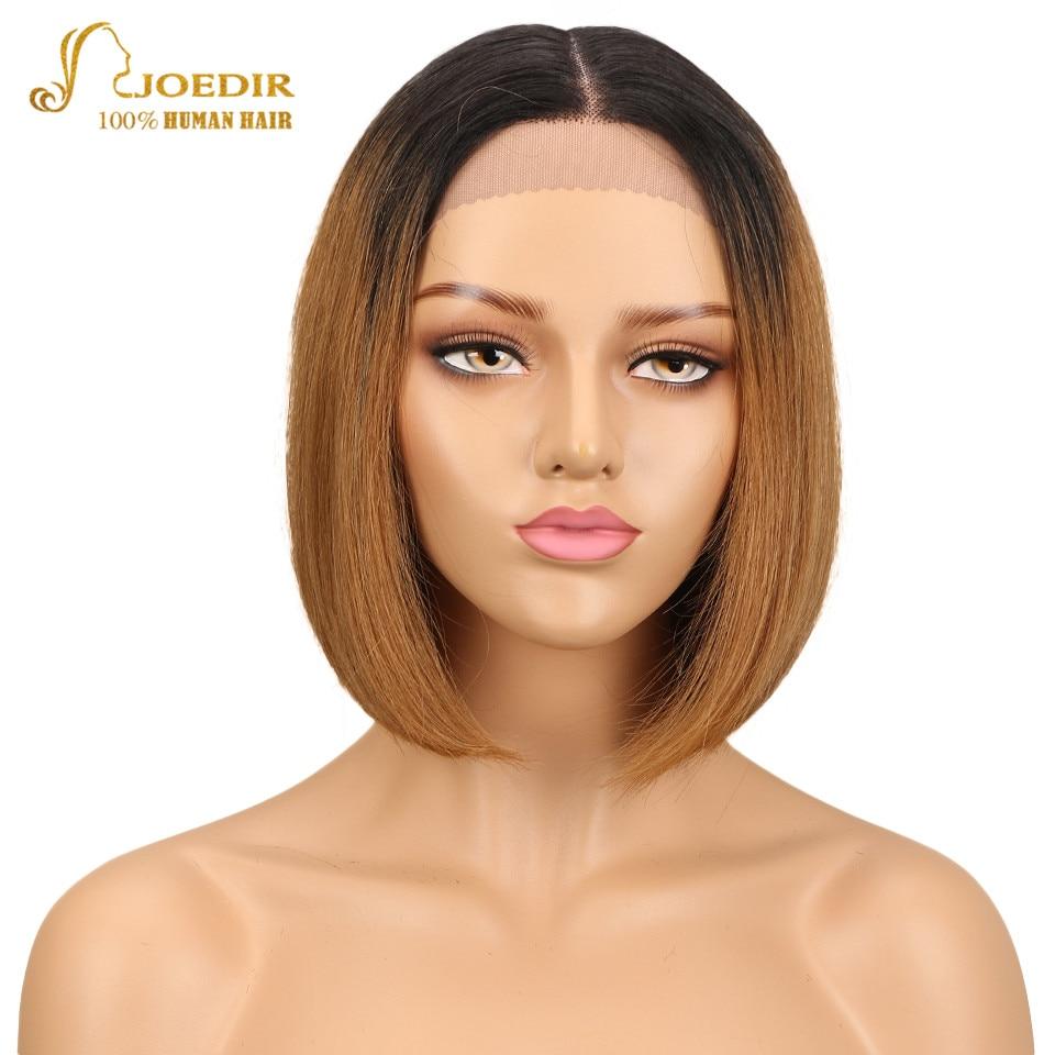 Joedir Brazilian Remy Hair Straight Short Human Hair Bob Wigs Ombre TT1B 30 Color Blunt Cut Bob Lace Front Wig With Closure