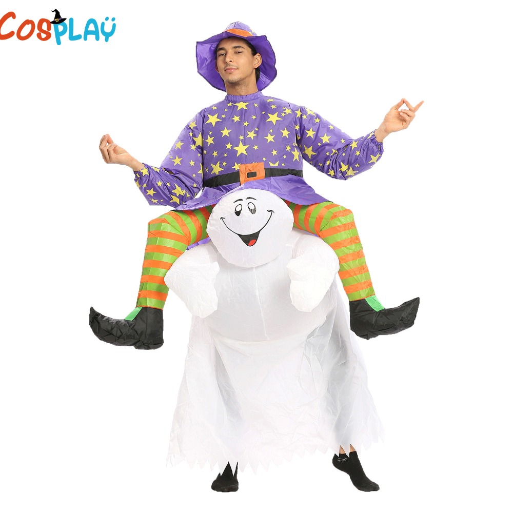 Ghost Rider Halloween Scary Costume Adult Inflatable Blow Up Suit Carnival Party