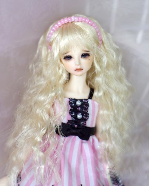 BJD doll wigs light golden wave long curly Imitation mohair for 1/8 1/12 BJD XAGA DK LATI doll wigs doll accessories 7 8 bjd doll wig super cute imitation mohair wig accessories 1 4 bjd msd