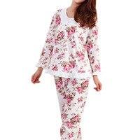 Langärmelige Damen Pyjamas Set Schlafanzug für Frauen Pijama Mujer Blumendruck Sleepwear Homewear Nachthemd Asien/Tag M-3XL