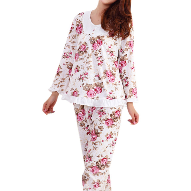 Pyjamas Women Long Sleeved Ladies Pajamas Set Pijama Mujer Floral Print  Sleepwear Homewear Nightgown Asia Tag M 3XL-in Pajama Sets from Underwear  ... 0381c7087