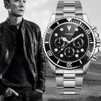 Sinobi Men's Quartz Watch Full Steel Waterproof Calendar Luxury Rolexable Chronograph Man Business Wrist Watch Relogio Masculino