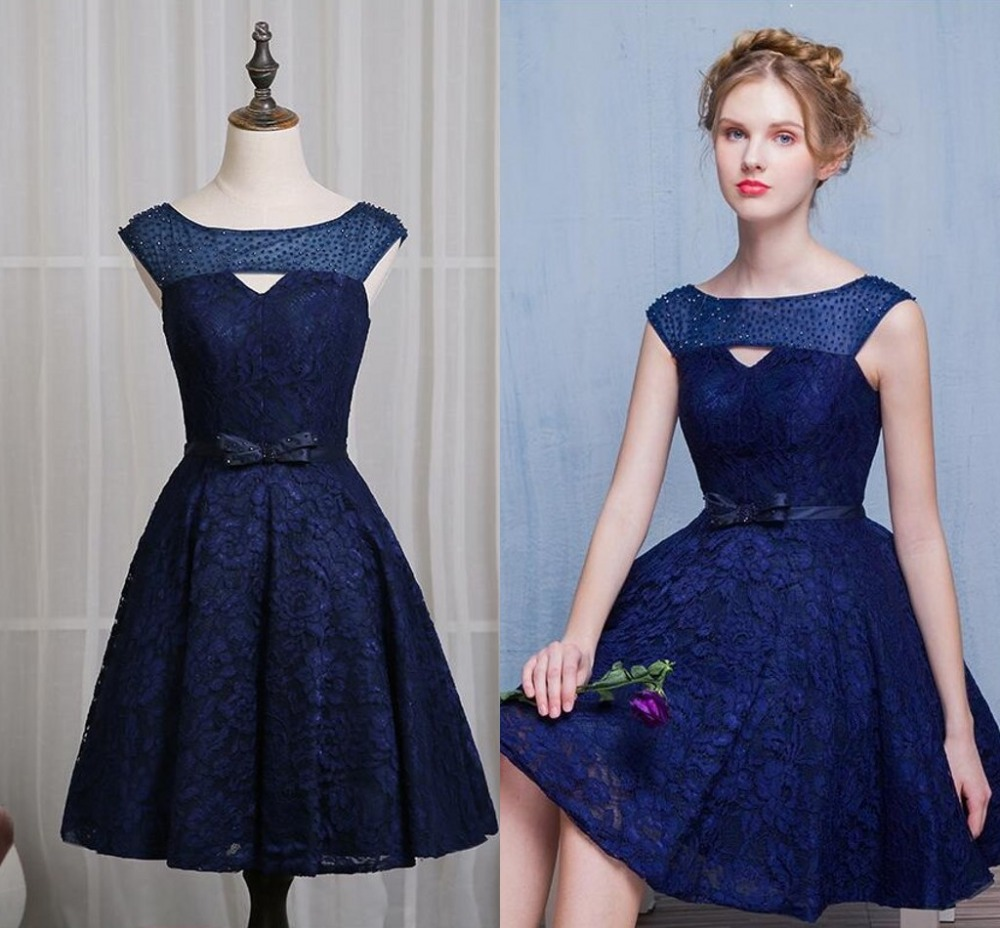 252783a7a9d3 Real Photos Navy Blue Lace Cocktail Dresses 2017 Elegant Beads Homecoming  Dresses Short Prom Party Dress Gatsby Dresses