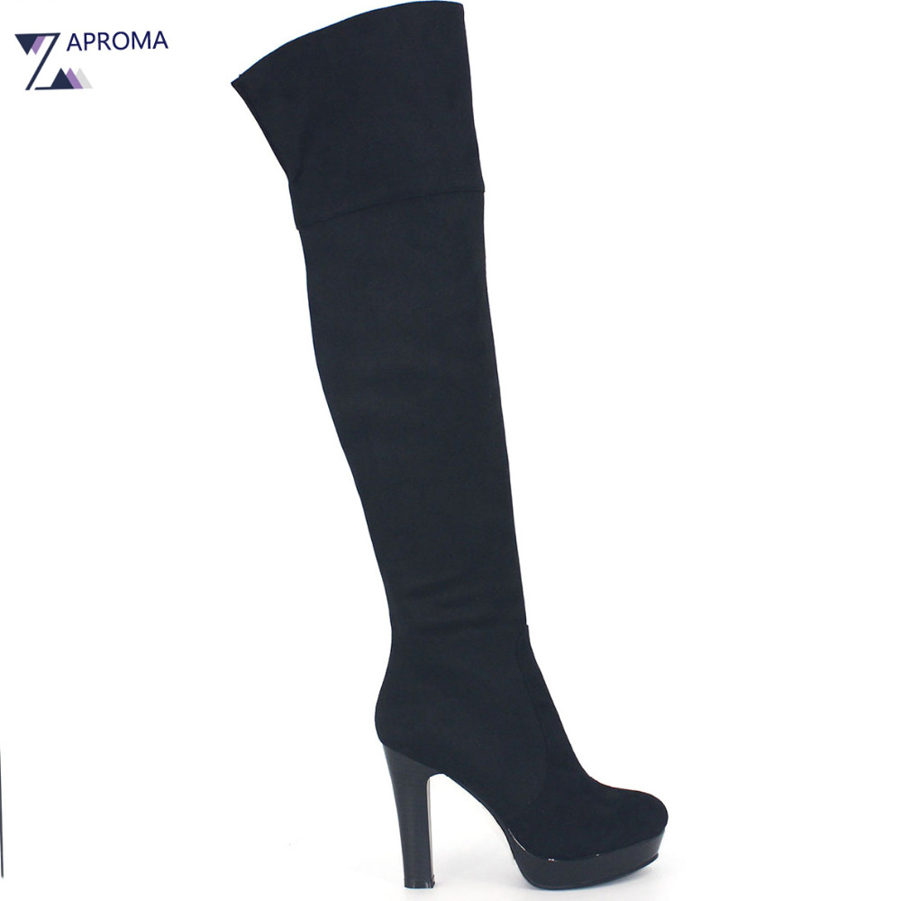 2017 Women Shoes Winter Thigh High Boots Platform High Heel Black Over the Knee Flock Shoes Zipper Fashion women platform chunky high heel over the knee boots side zipper winter warm thigh boots fashion woman shoes white black