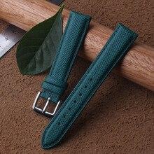 Стильный ремешок 16 мм 18 мм 20 мм из натуральной телячьей кожи для наручных часов зеленый узор Ящерицы Ремешок Браслет для брендовых мужчин