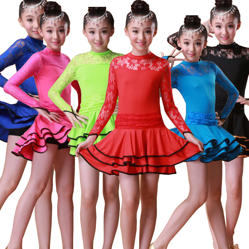 Girls Latin Dance Dress Long Sleeves Ballroom Dress Tango Dress Child Salsa Dancing Dresses Kids Stage wear Dance wear costumes