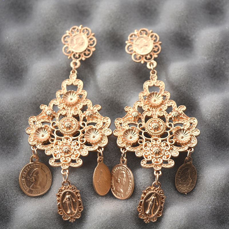 Ethnic Style Coin Drop Earrings Women Gold Color Metal Dangle Earrings Big Bohemia Jewelry Statement Brincos Pendientes