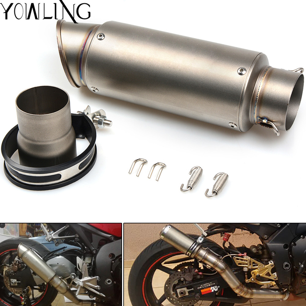 Exhaust Pipe Motorcycle Muffler Escape Carbon Fiber Exhaust Muffler Motocross With Sticker DB KILLER 51mm 61mm Inlet motoo 51mm real carbon fiber stainless steel motorcycle exhaust pipe motocross muffler with db killer