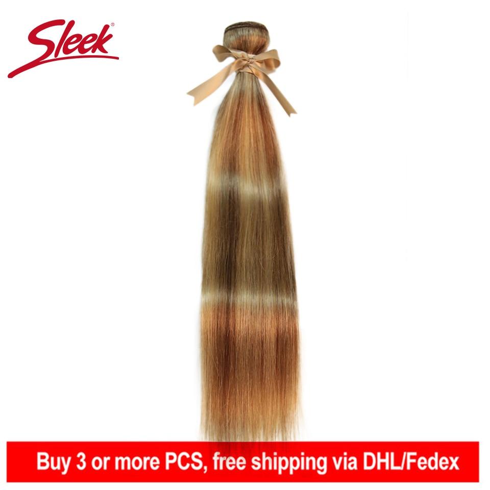 Sleek Remy P8/22 P27/613 P6/22 Bundles Peruvian Hair Weave 10-24 Inches Straight Human Hair Extension Blonde Hair Weave Bundle