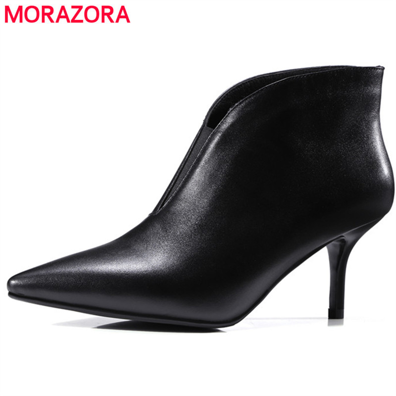 MORAZORA Thin heels shoes woman genuine leather boots two colors fashion shoes ankle boots for women top quality morazora fashion punk shoes woman tassel flock zipper thin heels shoes ankle boots for women large size boots 34 43