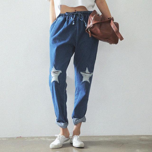 Outono da Coréia Do Sul Estrela Em Forma de Danificar O Elástico Na Cintura Solta Calça Jeans Haren