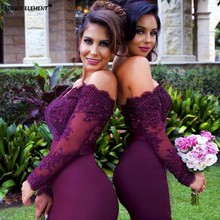 SINGLE ELEMENT Dress Bridesmaid Dresses Long Sleeve Honor Burgundy Formal Lace Beaded Sexy