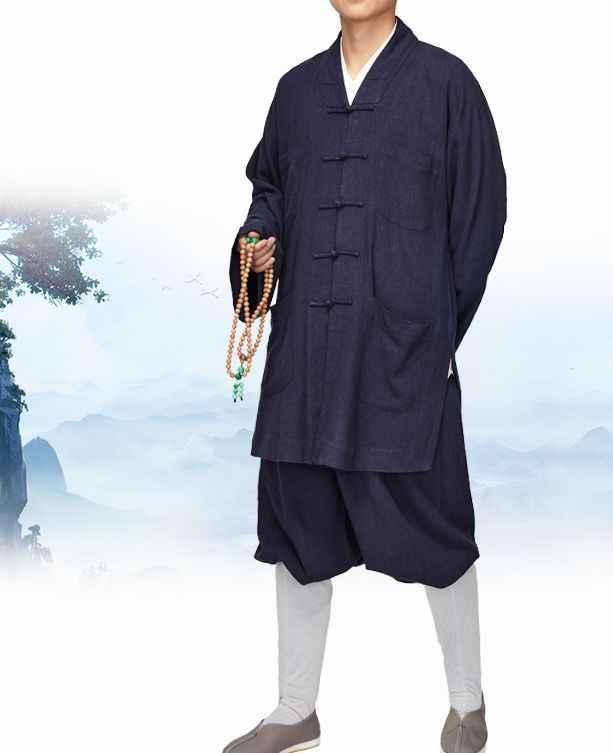 ユニセックスベージュ/赤ハイグレードリネン & コットン僧侶スーツカンフー制服仏教レイ瞑想禅少林寺の僧の服