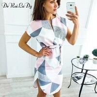DeRuiLaDy 2018 Summer Beach Dress Women Sexy V Neck Flowers Print Short Sleeve Split Vintage Dresses