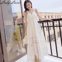 2019 Summer Runway Women Holiday Long Dress White Patchwork Lace swing Dress Sexy Hollow Out Spaghetti strap Maxi Dress