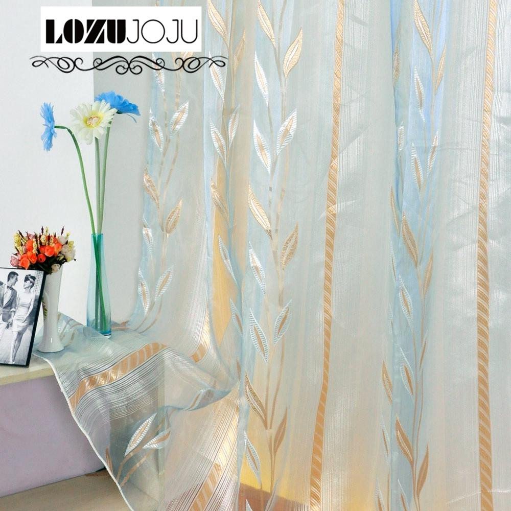 LOZUJOJU Sheer Free shipping modern leaf jacquard design blue tulle sheer window treatments for bedroom living room curtains