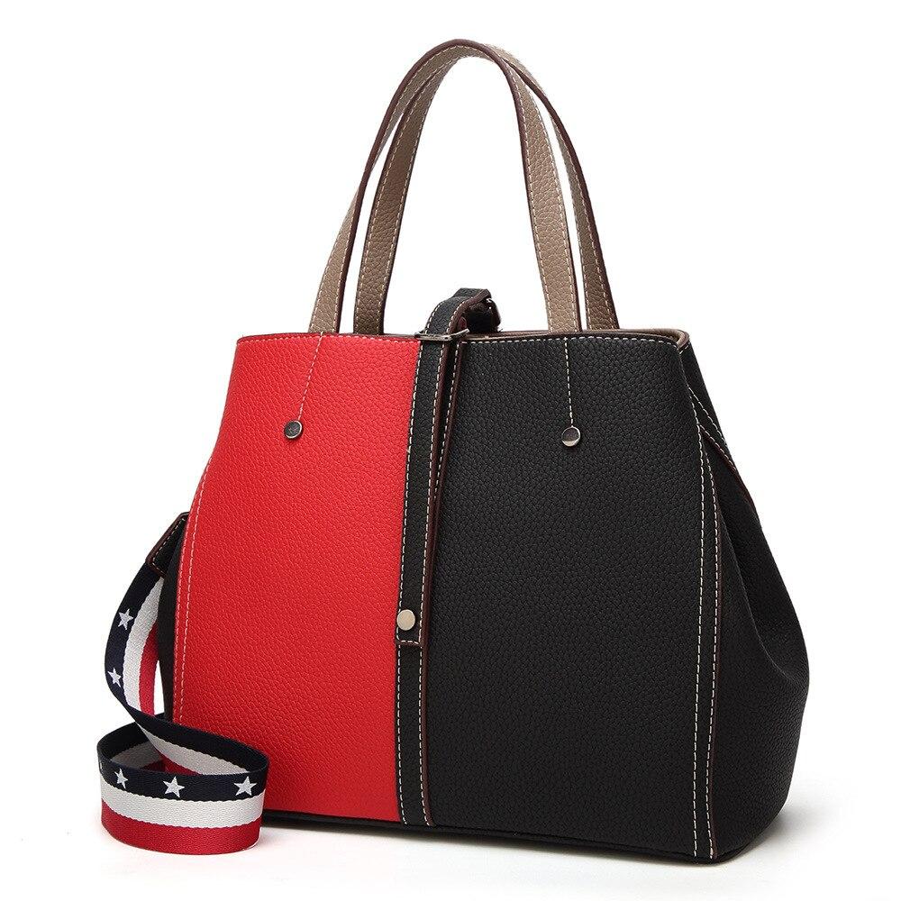 Guangzhou women's bag 2018 new Korean fashion women's splicing bags foreign trade handbags