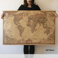 Vintage World Map Travel Home Decoration Detailed Antique Poster Wall Chart Retro Paper Matte Kraft Paper