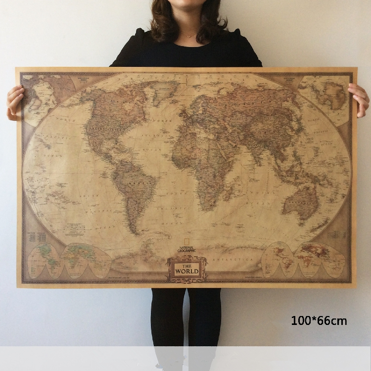 vintage world map poster pared decoracin del hogar antiguo detallada carta de papel retro papel kraft