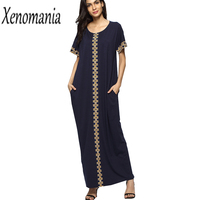 Indian Dress Long Maxi T Shirt Dress Women Hippie Boho Plus Size Vintage Casual Dresses Cotton 2019 Short Sleeve Vestidos Tunic