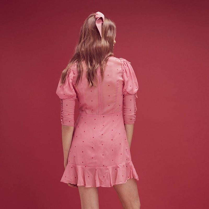 Femmes Rose Manches Mode 2018 cou V Dot 2 Robe 1 Mini Automne CxhsQtrd