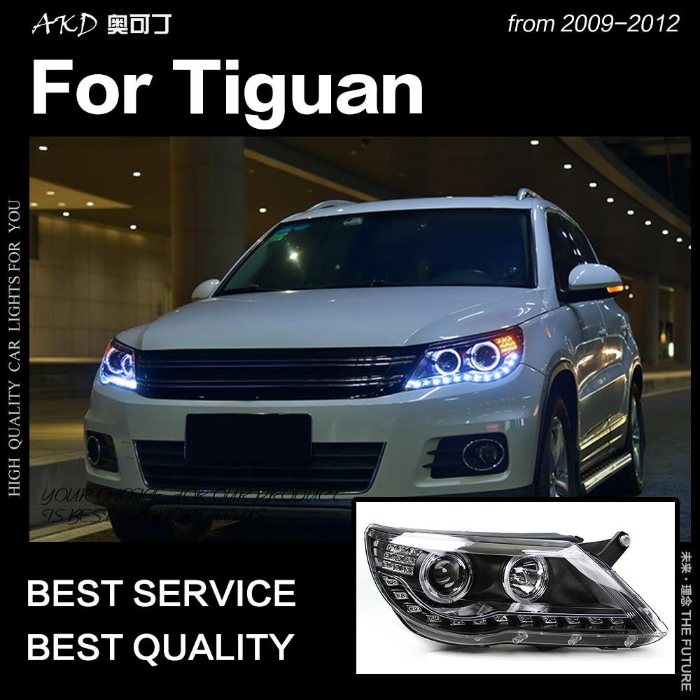 AKD Car Styling Faróis Head Lamp para Tiguan 2009-2012 Tiguan LEVOU Farol DRL levou Anjo Olho Hid Bi xenon Auto Acessórios
