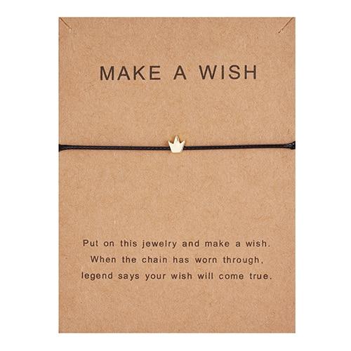 Регулируемый браслет с бумажными карточками в форме бабочки, звезды, короны, Круглый тканый браслет ручной работы, Простые Модные женские ювелирные изделия, подарки - Окраска металла: 6