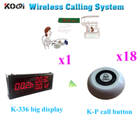Table Service Bell System Ycall Waiter Bell Display With K-P Call Button 433.92MHZ Equipment(1 display+18 call button)