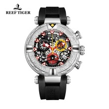 Reef Tiger/RT New Design Top Brand Men Watches Rubber Strap Steel Skeleton Sport Watches Montre Homme RGA3059-S