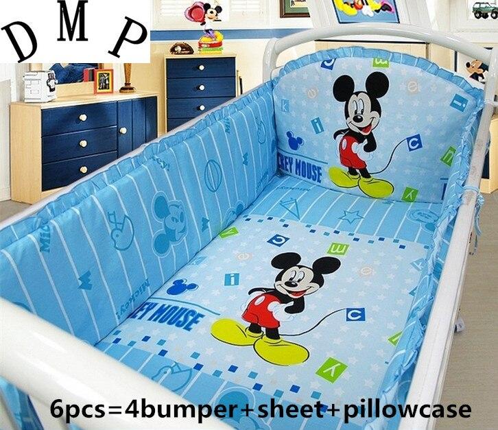 6PCS Cartoon Cot Baby crib bedding set bed linen 100% cotton crib bumper protetor de berco (4bumper+sheet+pillow cover)