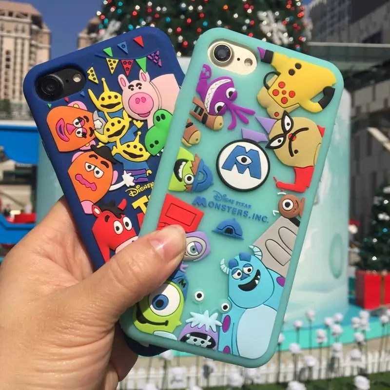 New Cute 3D Cartoon Soft Silicone case For Apple iPhone X 5 SE 5s 6 6s 7 8 Plus Phone Cases Cover Toy Story Monsters Stitch Capa
