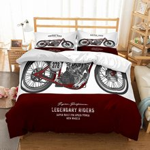 3D Digital Exquisited Silver/Red Speed Motorcycle Vintage Race Printed Red/White Duvet Cover Bedding Set 3PCS with 2 Pillowcase(China)