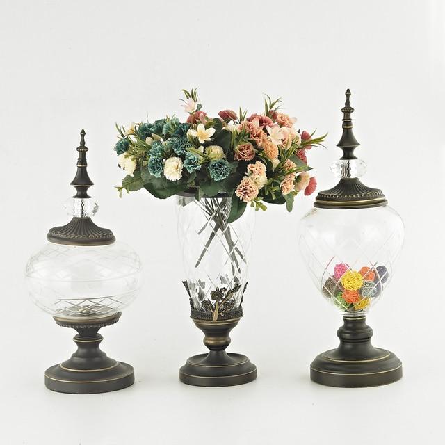 Aliexpress Buy Flower Vase Bronze Base Glass Vases Decoration