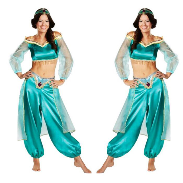 princess jasmine costume adult aladdin cosplay blue belly dance halloween costume for women