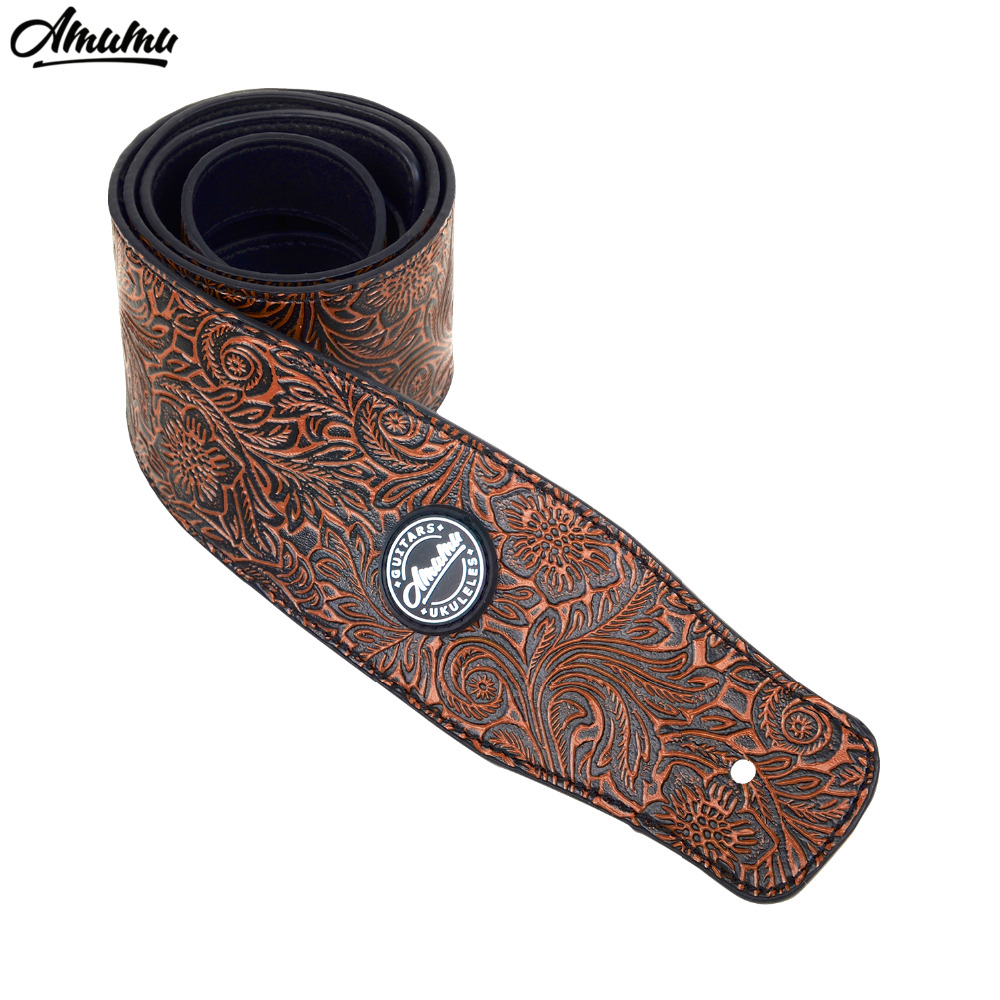 Embossed PU leather Guitar Strap for Electric Bass Guitar 130-150 cm Acoustic Folk Electric Bass Guitar Belt