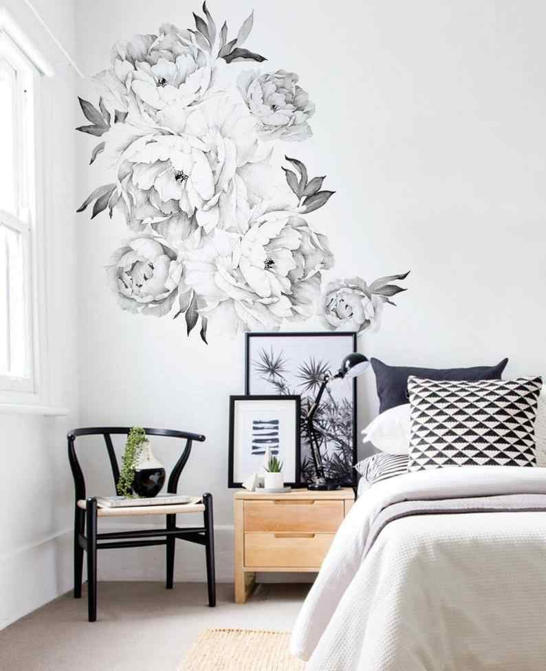 Peony Flowers Wall Sticker Black & White Watercolor Peony Wall Stickers Peel and Stick Removable Stickers Decor Room Decoration