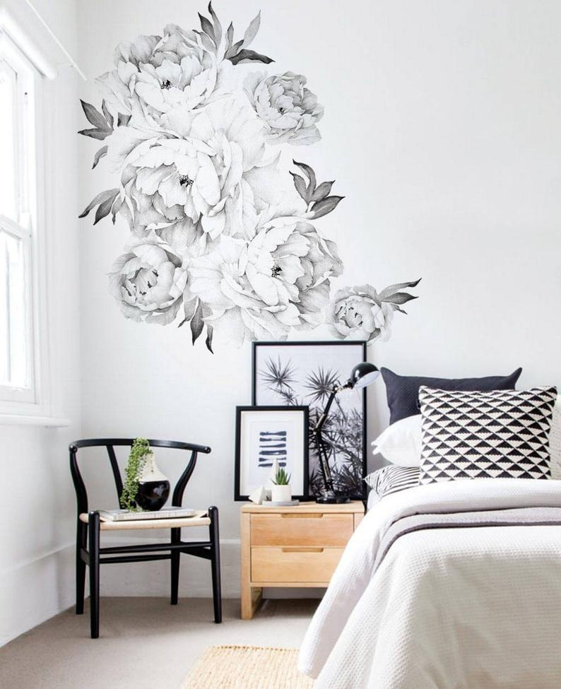 Peony Flowers Wall Sticker Black & White Watercolor Peony